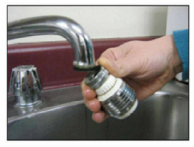 Remove all attachments from the faucet including the aerator, rubber washer and any hoses
