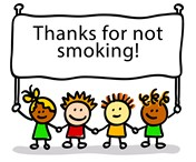 kids holding sign thanks for not smoking